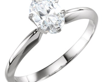 Oval Cut Engagement Ring 1.50 Carat 6  Prong Solitaire Design Solid 14K White Gold