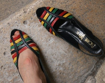 SALE 50% fancy red green yellow navy blue stripes multicolor striped SLOANE french sandals pumps heels 37 with peep toe and slingback