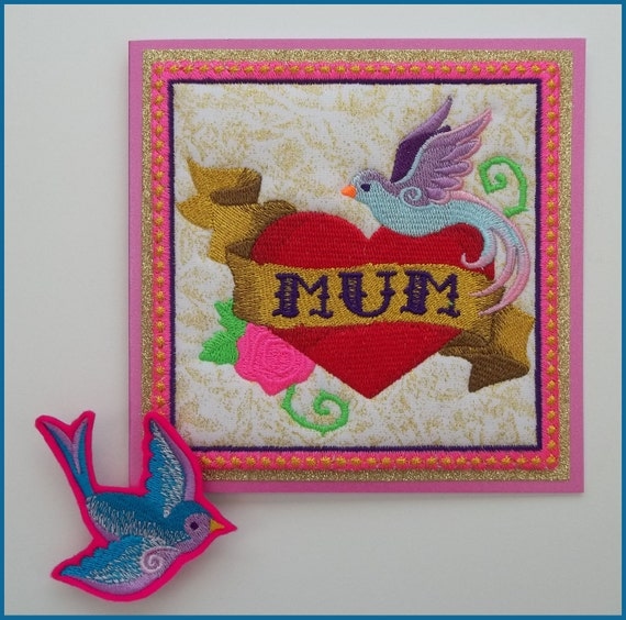 Machine embroidered tattoo style mum greeting card by