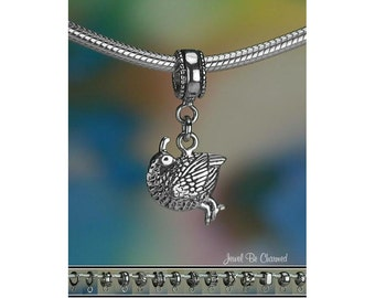 Sterling Silver Quail Charm or European Style Charm Bracelet .925
