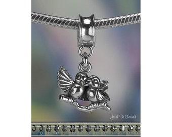 Sterling Silver Lovebirds Charm or European Bracelet .925 Love Birds