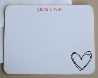 Personalized Flat Note Cards / Stationery - Wedding Thank You Cards - Set of 10
