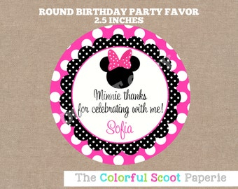 Minnie Mouse Favor Tags, Minnie Mouse Stickers, Hot Pink, Minnie Mouse Printable, Round   (#609)