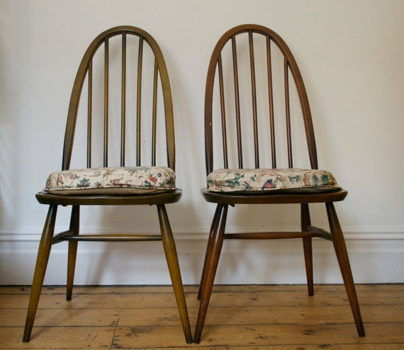 Vintage Retro Ercol Chairs With Original Seat Pads X 2 Mid