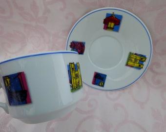 Spal Porcelain - Lisbon Portugal Cup and Saucer - Vintage Souvenier - No Damages - Beautiful Colors - Keepsake Collectible - Two Pieces