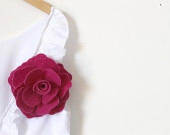 Felt Flower Pin, Fuxia Flower, Felt Pin, Wool Felt Flower Pin
