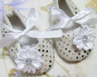 Silver Polka Dots Baby Girl Shoes