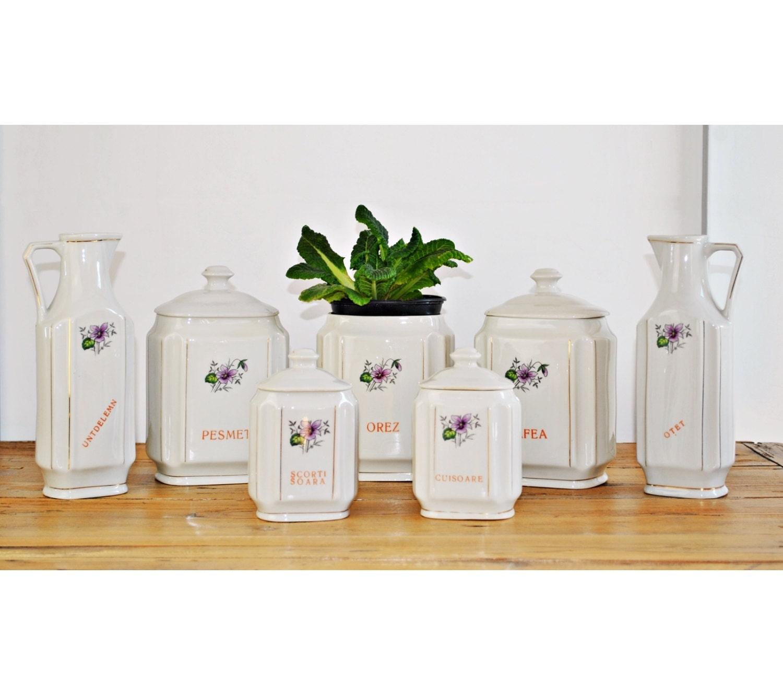 Vintage Kitchen Canisters Set / Ceramic Storage Pots
