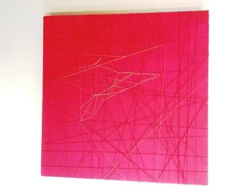 Canvas art - Golden weave spaceship - linen and gold thread