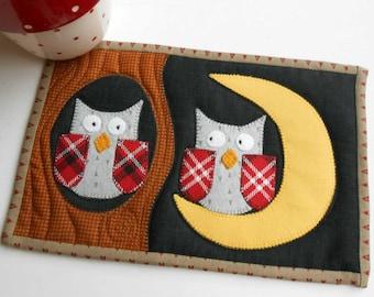 Night Owls Mug Rug Pattern