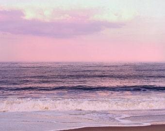 Pink purple beach photography, ocean art print, lavender pink coastal wall art, pink mint sunset sky, fine art photograph, seascape picture