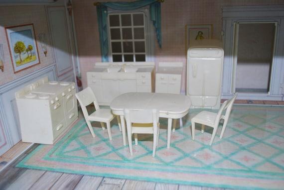 Marx kitchen white plastic dollhouse furniture for White plastic kitchen chairs
