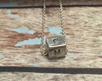 Cube necklace - Hand stamped cube jewelry - Hand stamped cube necklace - Necklace with initials- Custom jewelry - Initials- Mother's Day!