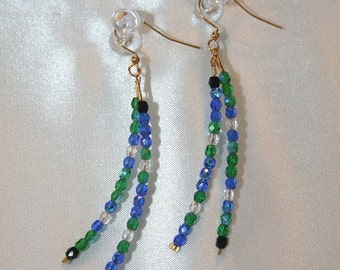 007E Double Dangles of Blue and Green Swarovski Crystals