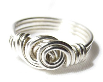 Double Swirl Ring, Sterling Silver Wire Ring, Silver Swirl Ring, Wire Wrapped Jewelry Handmade Ring, Size 4 5 6 7 8 9 10 11 12 13 14