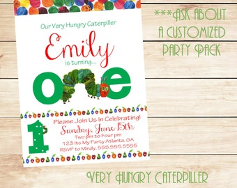 Very Hungry Caterpillar Turning ONE Invitation/ Hungry Caterpillar is ONE