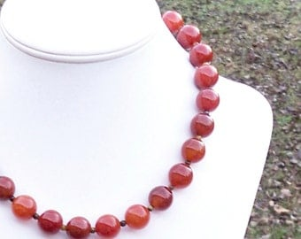 Keyes - Chunky 14mm Round Burnt Red Orange Brown Fire Agate Gemstone Beaded Necklace - Sterling Silver Clasp