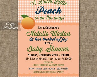 Peach Baby Shower Invitations   Printable Gender Neutral Coral Shower  Invites   Country Boy Baby Shower