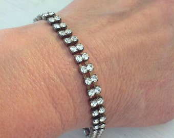 Vintage Rhinestone Tennis Bracelet, Excellent Condition