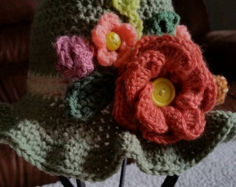Little girls flower hat
