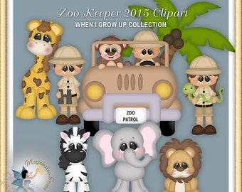 Safari Clipart, Animals, Zoo Keeper