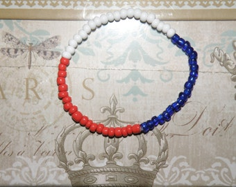Patriotic glass seed bead stretch bracelet