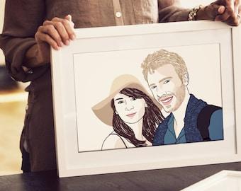 Portrait de couple personnalisé, 2 personnes, dessin numérique, cadeau unique !