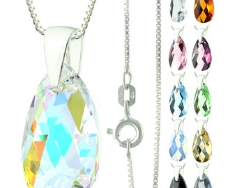 925 Sterling Silver Faceted Pear Swarovski Crystal Pendant Necklace