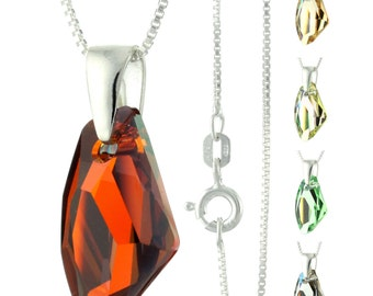 925 Sterling Silver Faceted Galactic Swarovski Crystal Pendant Necklace