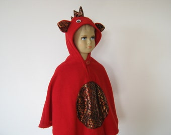 firedragon halloween carnival costume cape for toddlers red