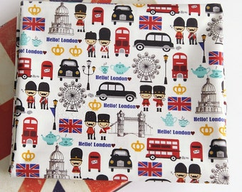 Laminated Cotton Fabric London Queen's Guard Ivory By The Yard
