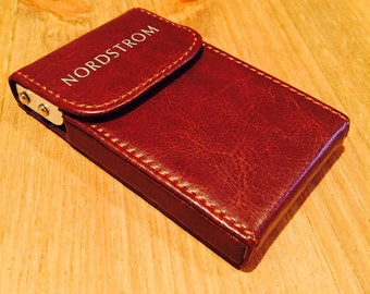 Personalized leather business card holder case