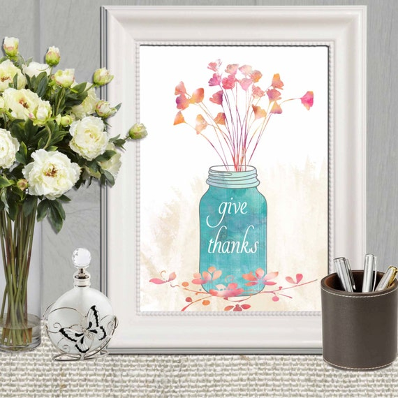Decorating Ideas > Give Thanks Print Thanksgiving Decor Kitchen Decor By  ~ 071759_Thanksgiving Kitchen Decorations