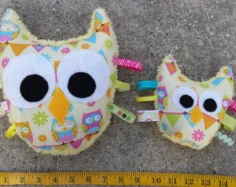 Stuffed owl, child friendly toy – LARGE owl plush - softie stuffed toy owl - gift idea for boy girl - Yellow owl fluffy