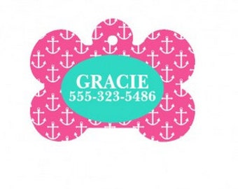 Personalized Hot Pink Anchor Dog Bone Tag for Pets