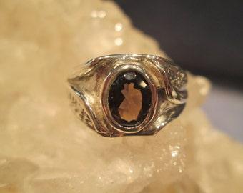 Smokey Quartz Man's Ring ~Sterling Silver~ Hand Cast
