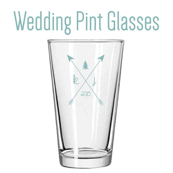Customized Wedding Beer Glasses : Custom Wedding Pint Glass Favors (variety of colors and logo options ...