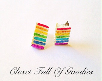 Rainbow Layer Cake Slice Earrings