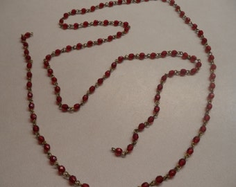 4mm round glass fire polished bead with brass chain 3 foot length ruby bead with brass chain 3 foot