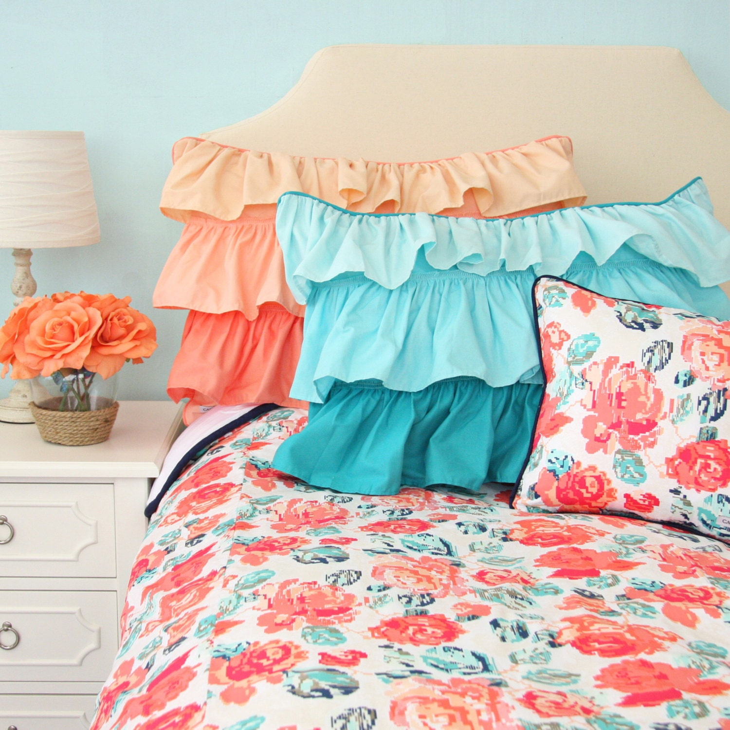 Everly S Garden Aqua And Coral Big Kid Twin Full Queen