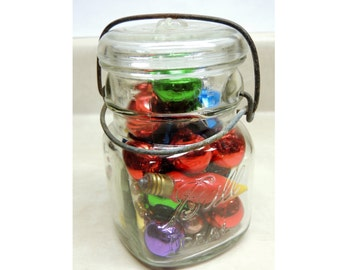 Vintage Ball Ideal Latch Lid Canning Jar with vintage glass Christmas ornaments, Country Decor, Cottage Chic, Rustic living
