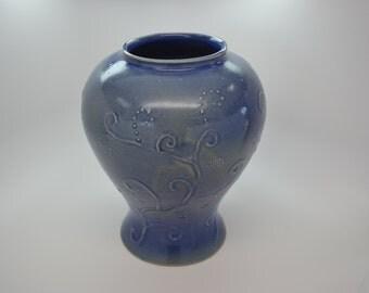 Water color blue vase