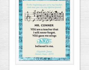 Teacher Appreciation Print - End of Year Teachers Gift - Personalised Teachers Gift - Music Teacher!
