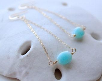 Peruvian Opal Dangle Earrings, 14k Gold Fill Chain