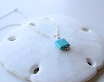 "Magnesite Turquoise Square Pendant Necklace, 16"" Rolo Chain"