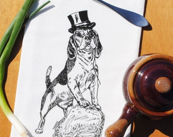 Organic Cotton Tea Towel - Hand Screen Printed -Whimsical Black Beagle Design - Towel is Perfect for Dishes - Unique Gift for Bride