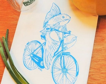 Fish On A Bicycle Tea Towel - Hand Screen Printed  - Flour Sack Tea Towel - Unique Wedding Gift - Nautical Kitchen Theme