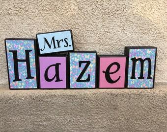 Teacher's Name blocks - butterfly/pastel themed