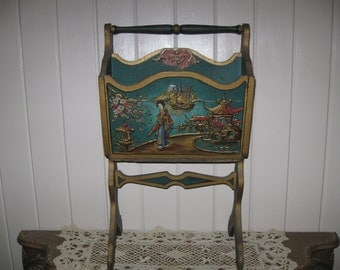 "ANTIQUE,Extravagantly Detailed ""1929"" Embossed 3D Oriental Magazine Stand/Rack..."