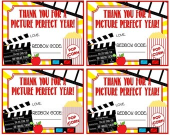 Teacher Appreciation Redbox Gift Tag - Thank You For A Picture Perfect Year! - Printable - Instant Download